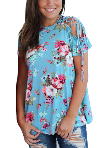 Sky Blue Floral Lace-Up Short Sleeves Blouse