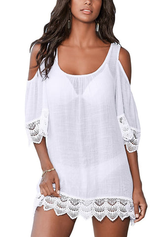 White Crochet Trim Cold-Shoulder Beach Cover-Up