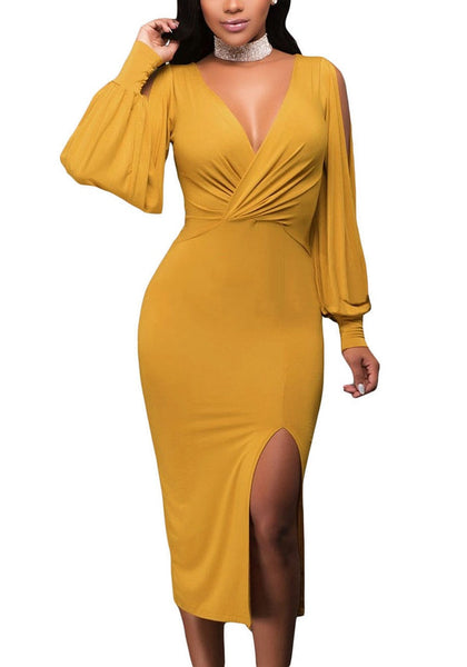 Front view of woman wearing wine mustard sleeve ruched midi dress