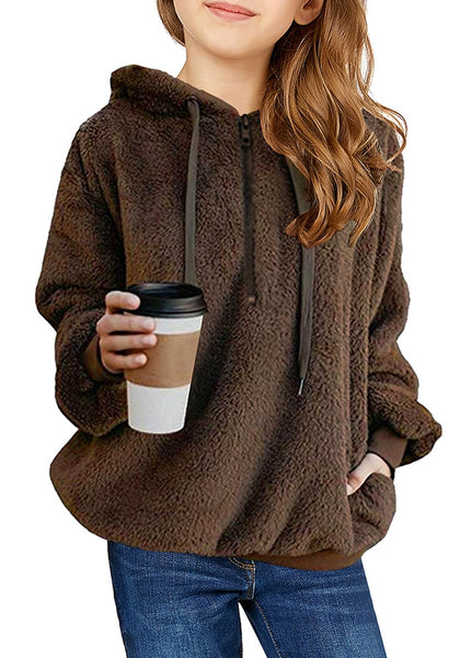 Front view of young model wearing dark brown fuzzy fleece hooded girl's sweater