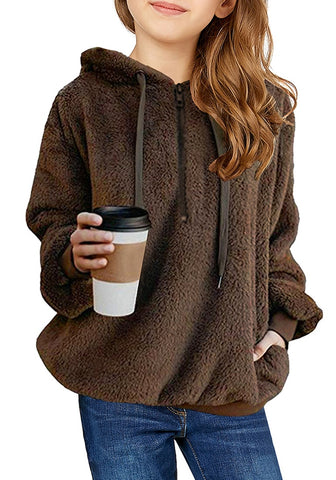 Dark Brown Fuzzy Fleece Hooded Girl's Sweater