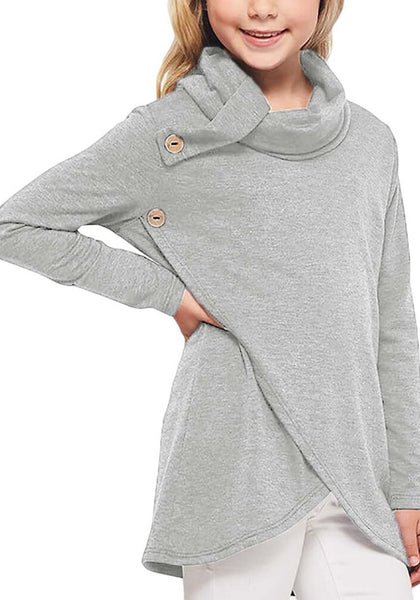 Front view of young model wearing grey oblique buttons tulip hem turtleneck girl's sweatshirt