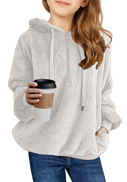 Front view of young model wearing light grey fuzzy fleece hooded girl's sweater