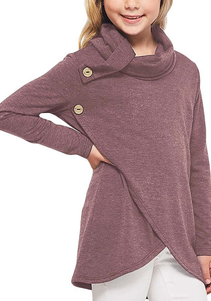 Front view of young model wearing mauve oblique buttons tulip hem turtleneck girl's sweatshirt