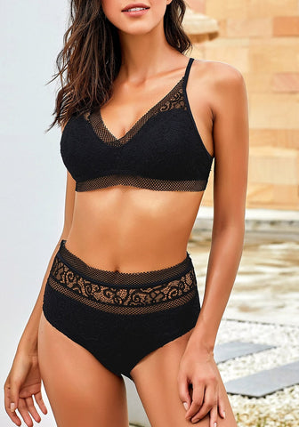 Black Fishnet-Trim High-Waist Lace Bikini Set