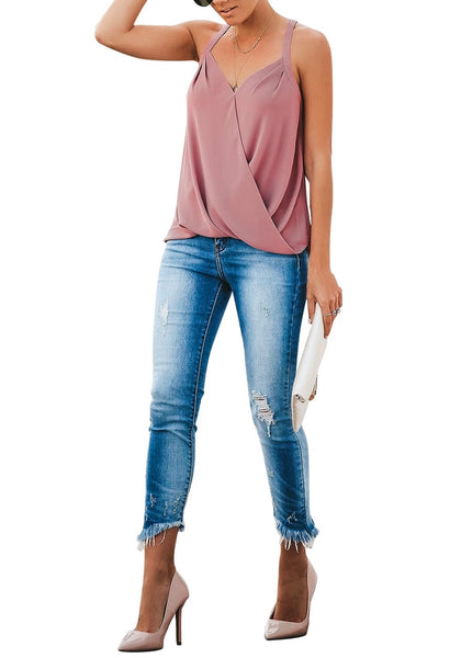 Front whole body shot of model wearing deep blush sweetheart neckline loose surplice cami top