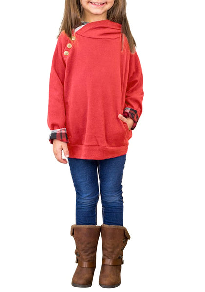 Front whole body shot of model wearing red oblique buttons double hood girl's pullover