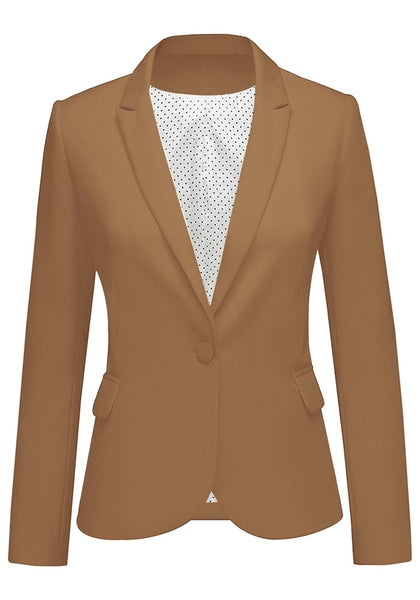 Front view of brown back-slit notched lapel blazer