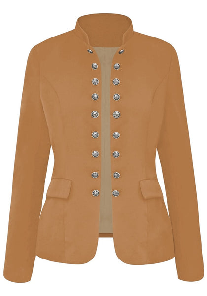 Front view of camel stand collar open-front blazer