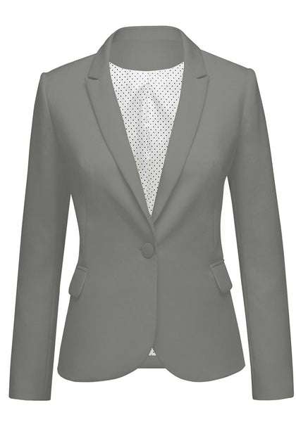 Front view of dark grey back-slit notched lapel blazer's image