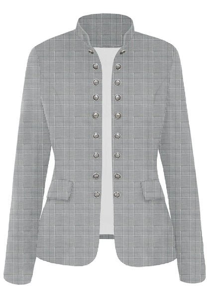 Front view of grey plaid stand collar open-front blazer's image