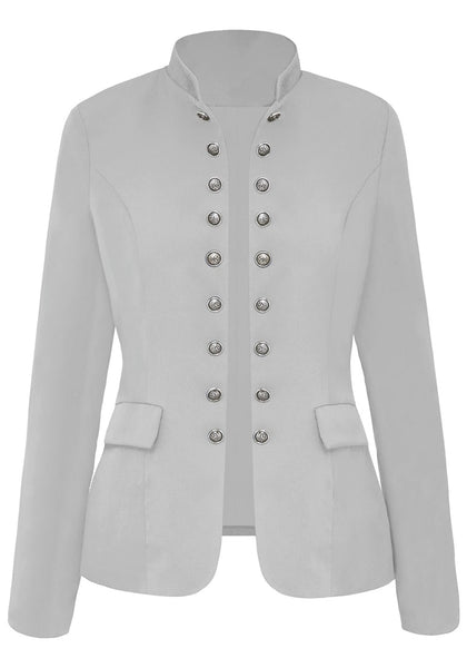 Front view of light grey stand collar open-front blazer
