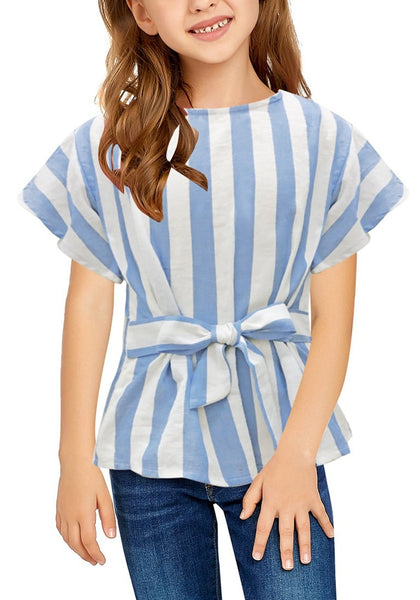 Front view of little girl wearing light blue flare short sleeves keyhole-back striped little girl top