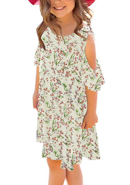 Front view of little model wearing off-white cherry blossom cold shoulder ruffle sleeves girl tunic dress
