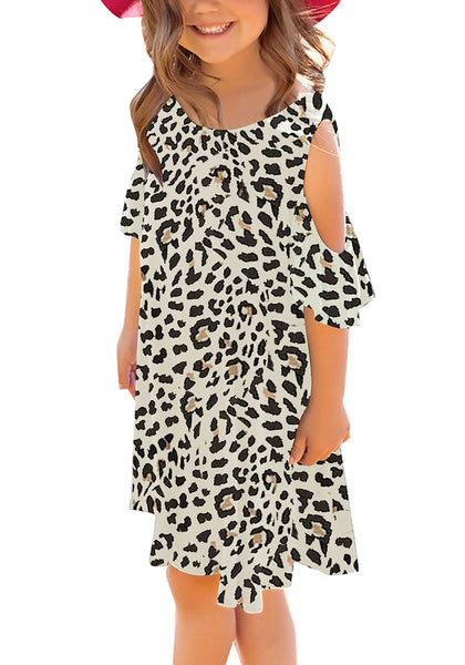 Front view of little model wearing off-white leopard cold shoulder ruffle sleeves girl tunic dress
