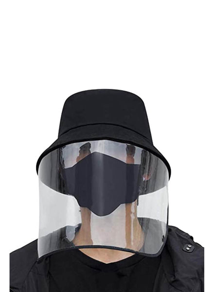 Front view of man wearing full face bucket hat protective face shield