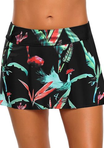 Black Zipper-Pocket Waistband Tropical-Print Skirted Bikini Bottom