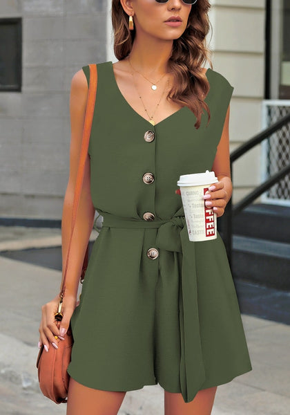 Front view of model wearing army green V-neck sleeveless belted button-up romper