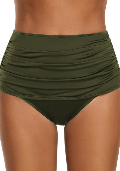 Army Green Black High Waist Ruched Swim Bottom