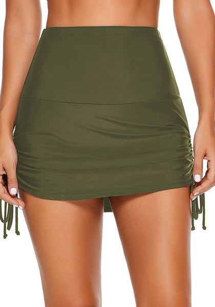 Front view of model wearing army green side-tie high-waist skirtini bottom