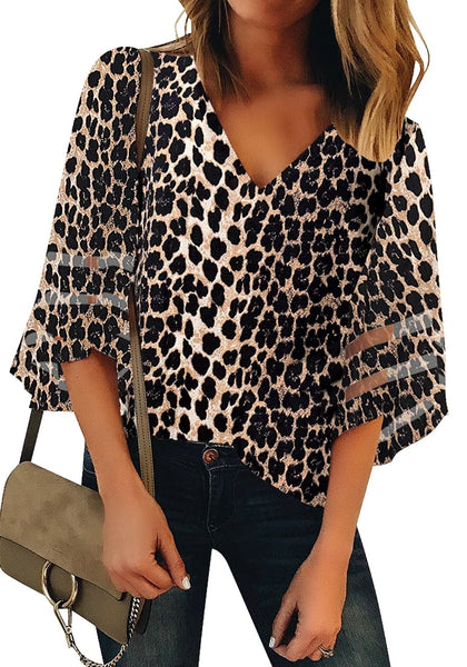 Front view of model wearing black 34 bell mesh panel sleeves V-neckline leopard-print loose top