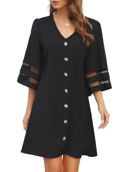 Front view of model wear black V-neck 34 bell sleeves button down shift dress