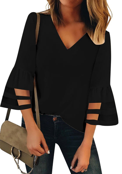 Front view of model wearing black V-neckline trumpet mesh panel sleeves top