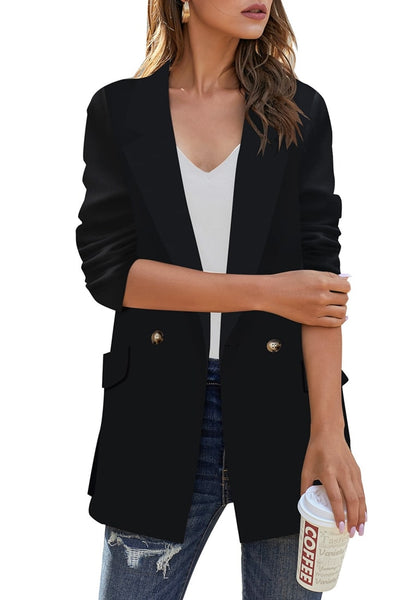 Front view of model wearing black notch lapel gold button plain blazer