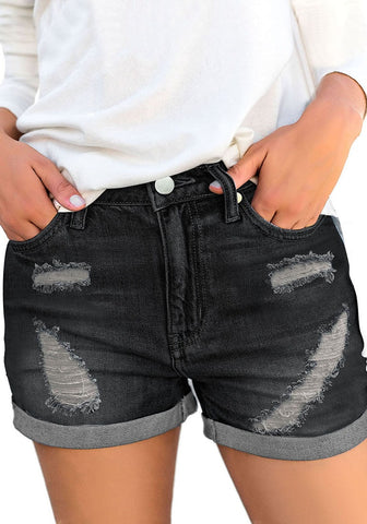 Black Roll-Over Hem Ripped Denim Shorts