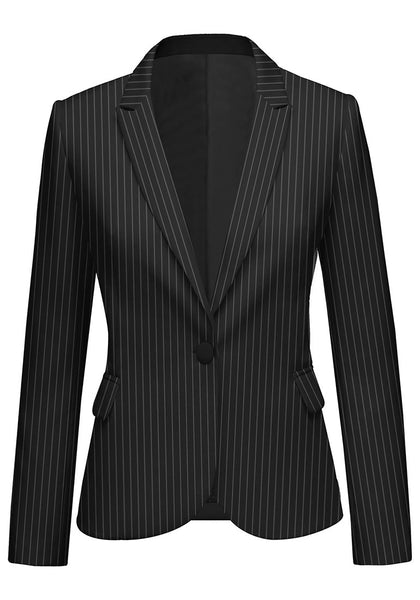 Front view of model wearing black striped back-slit notched lapel blazer