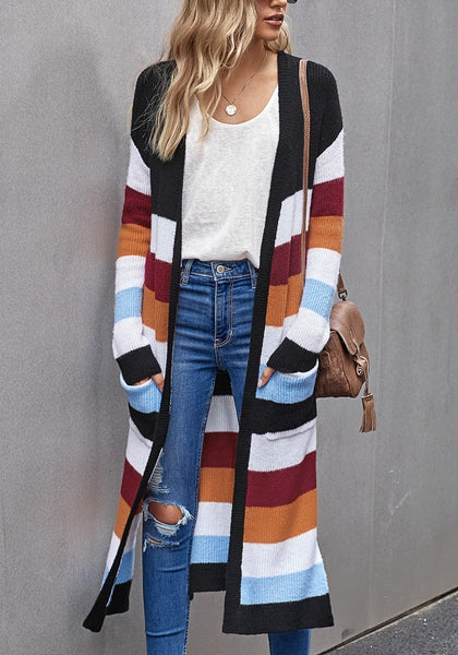 Front view of model wearing black striped colorblock open-front knit maxi cardigan