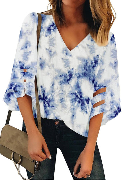 Blue 3/4 Bell Mesh Panel Sleeves V-Neck Tie-Dye Top