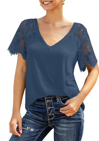 Front view of model wearing blue crochet lace short sleeves striped V-neckline top