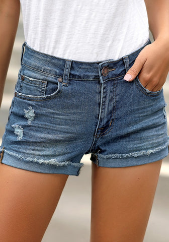 Blue Frayed Roll-Hem Ripped Denim Shorts