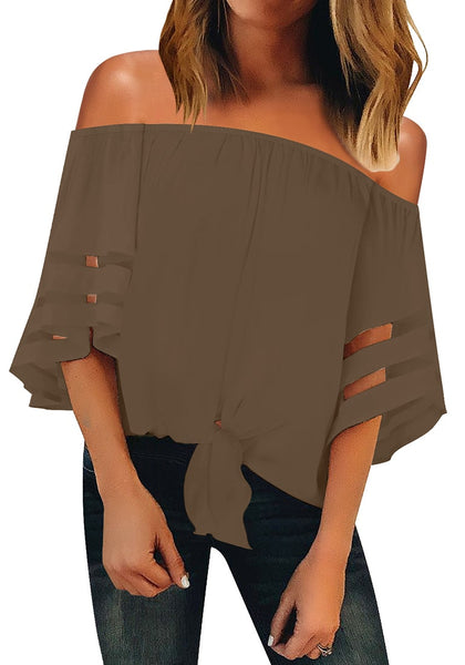 Front view of model wearing brown 3-4 bell mesh panel sleeves tie-front off-shoulder top