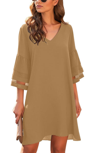 Brown 3/4 Bell Mesh Sleeves V-Neck Mini Shift Dress