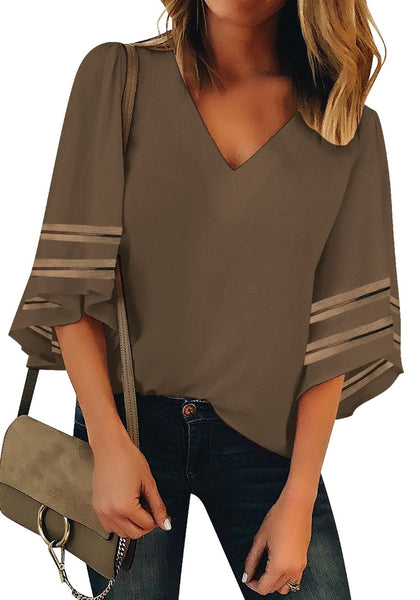 Front view of model wearing brown 3-4 ribbon mesh panel sleeves V-neckline loose top