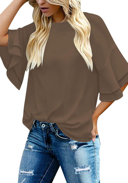 Front view of model wearing brown trumpet sleeves keyhole-back blouse