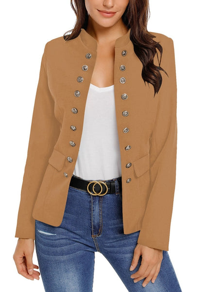 Front view of model wearing camel stand collar open-front blazer
