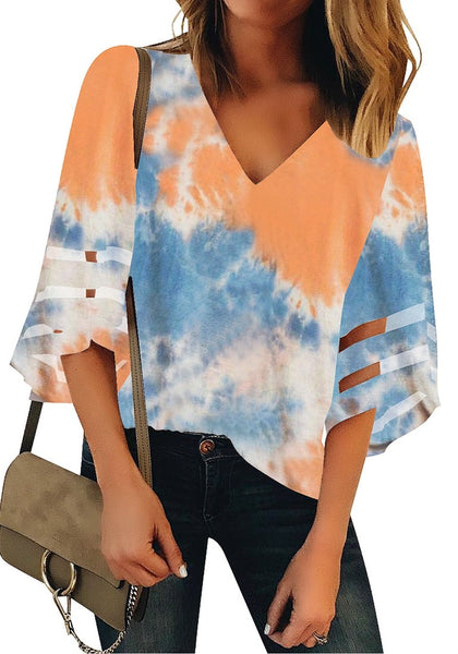 Coral & Blue 3/4 Bell Mesh Panel Sleeves V-Neck Tie-Dye Top