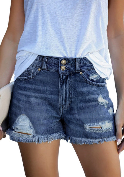 Front view of model wearing dark blue double raw hem ripped jean shorts
