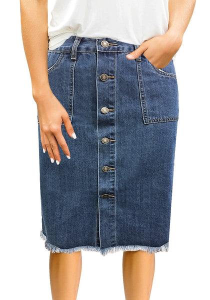 Front view of model wearing dark blue frayed hem button-down midi denim skirt