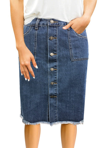 Dark Blue Frayed Hem Button-Down Midi Denim Skirt