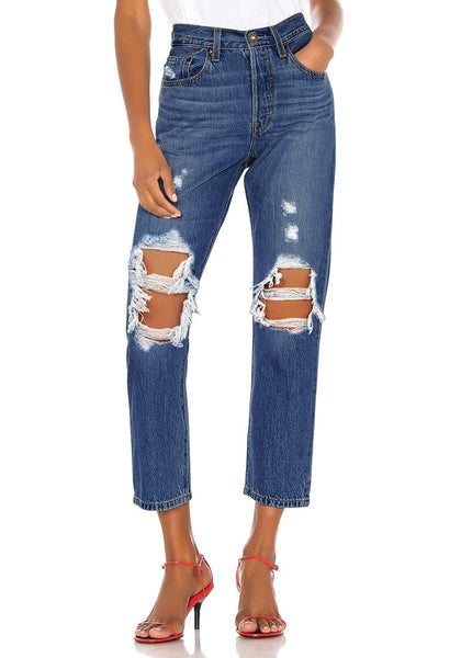 Dark Blue High-Waist Ripped Cropped Denim Jeans