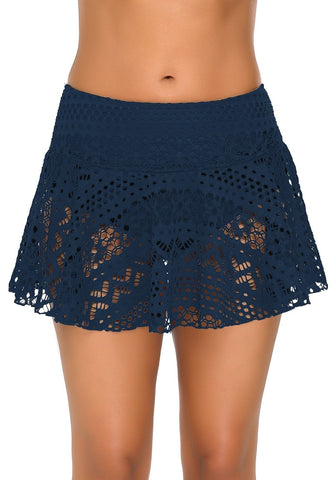 Dark Blue Lace Crochet Swim Skirt