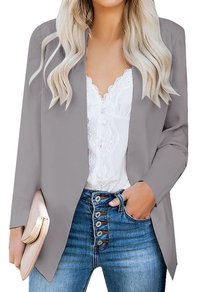 Front view of model wearing grey open-front side pockets blazer