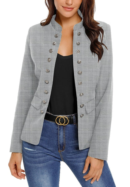 Front view of model wearing grey plaid stand collar open-front blazer