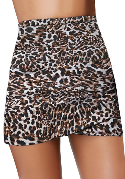 Front view of model wearing leopard-print high-waist tulip hem ruched swim skirt