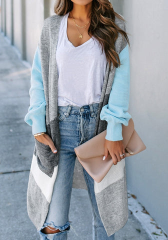 Light Blue Open-Front Colorblock Oversized Long Knit Cardigan