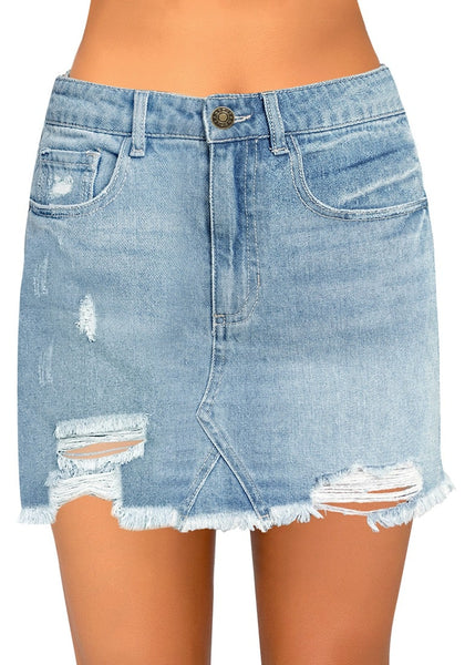 Front view of model wearing light blue raw hem distressed denim mini skirt